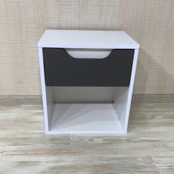 Тумба прикроватная DiPortes  Kt-410 без ручек, Белая / Темно серый Soft-touch (40/43/30)