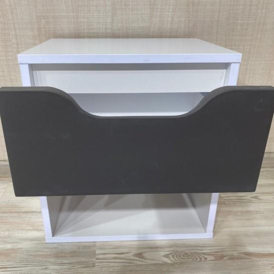 Купить Тумба прикроватная DiPortes  Kt-410 без ручек, Белая / Темно серый Soft-touch (40/43/30) на Mebli.Sale Недорого.