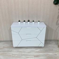 """Комод  """"Санторини К-102"""", Белый с темным серебром (100/ 76/ 40)"""