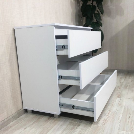 Купить Комод Kt-102 без ручек, Белый на ножках (100/80/40) на Mebli.Sale Недорого.
