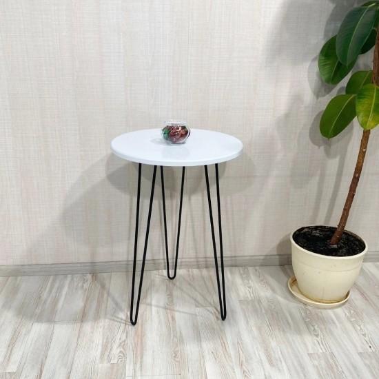 """Купить Стол """"Спектр"""" СЖ-7, Белый глянец (50/73/50), МДФ, черные ножки на Mebli.Sale Недорого."""