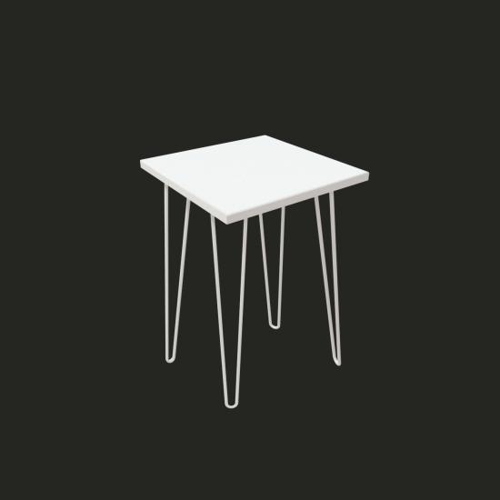 """Купить Стол """"Спектр"""" СЖ-15, Белый глянец, квадрат (40/73/40), МДФ, белые ножки на Mebli.Sale Недорого."""