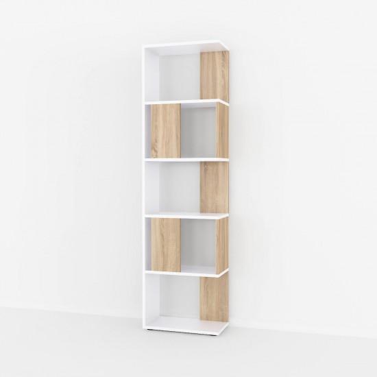 Купить Книжный стеллаж At-73, дуб сонома / белая  (45 /162/23) на Mebli.Sale Недорого.