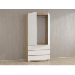 Шкаф для одежды Kb-2 со штангой, Дуб Сонома / Белый