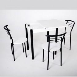 """Комплект стол Тавол """"Овале"""" + 3 стула Черный/Белый"""