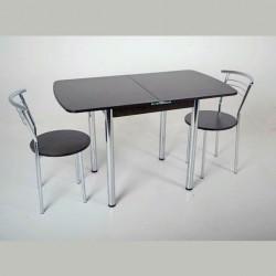 """Комплект раскладной стол Тавол """"Овале"""" + 2 стула хром Венге"""
